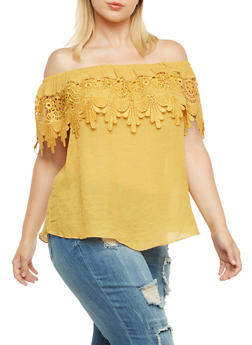 Plus Size Boho Top with Crochet Overlay at Neck - MUSTARD - 9404054262259