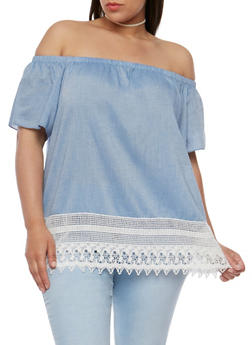 Plus Size Off the Shoulder Top with Crochet Trim - 9404054264872