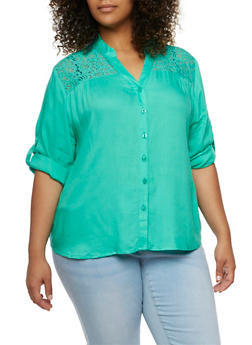 Plus Size Button-Front Shirt with Lace Panel and Drawstring - 9404063508096