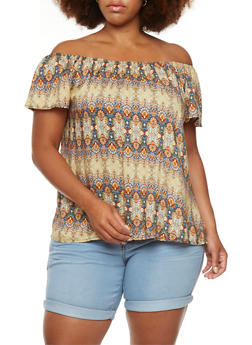 Plus Size Off-The-Shoulder Top with Ornate Print Throughout - 9406020620069