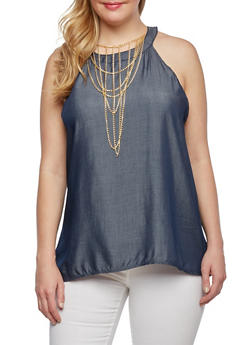 Plus Size Halter Top with Chainlink Necklace - 9406020620556