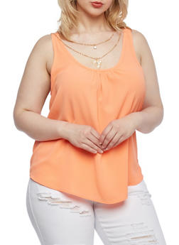 Plus Size Textural Trapeze Top with Scoop Neck and Removable Necklace - 9406020623156