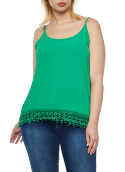 Plus Size Sleeveless Top with Crochet Hem - 9406020625651
