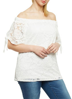 Plus Size Off the Shoulder Lace Top with Tie Sleeves - WHITE - 9406020625663