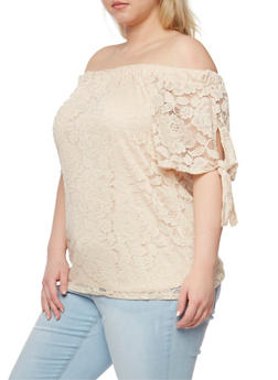 Plus Size Off the Shoulder Lace Top with Tie Sleeves - 9406020625663