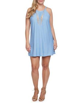 Plus Size Dress with Chain Fringe Faux Necklace - 9406020629964