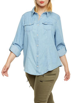 Plus Size Chambray Button-Up Top with Pearlescent Buttons - 9406051060735