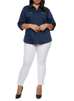 Plus Size Button Up Shirt with Zip Pockets - 9406051066822