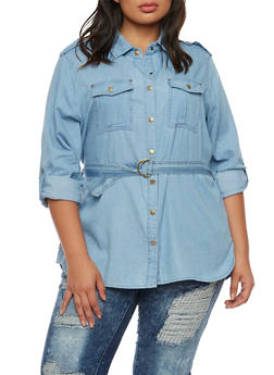 Plus Size Chambray Shirt with Waist Tie Cinch - 9406051067057