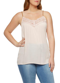 Plus Size Crochet Top with Faux Leather Straps - 9406051068218