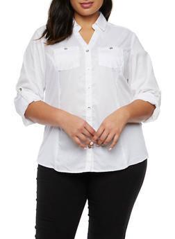 Plus Size Button Up Shirt with Knit Panels - 9406051068224