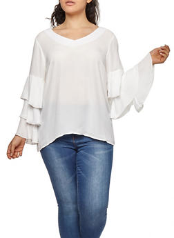 Plus Size Tiered Sleeve Top - IVORY - 9406051069702