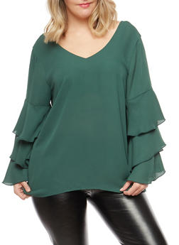 Plus Size Tiered Sleeve Top - 9406051069702