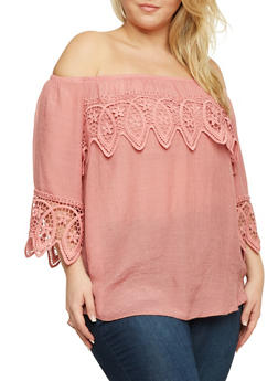 Plus Size Off the Shoulder Crochet Trim Top - 9406054264290