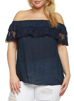 Plus Size Off the Shoulder Top with Crochet Overlay - 9406054264291