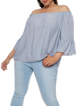 Plus Size Off the Shoulder Striped Peasant Top - 9406054264644