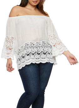 Plus Size Crochet Trim Off the Shoulder Top - 9406054264705