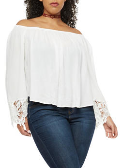 Plus Size Off the Shoulder Top with Crochet Sleeve Detail - 9406054268501