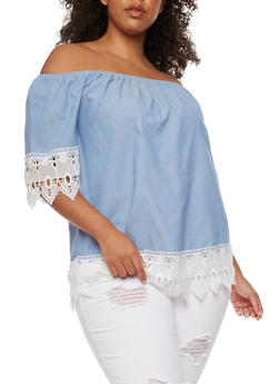 Plus Size Off the Shoulder Chambray Top with Crochet Trim - 9406056122689