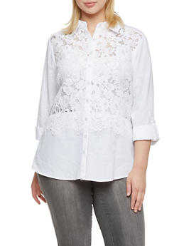 Plus Size Button Up Shirt with Lace Panel - 9406056129042