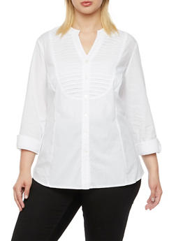 Plus Size Button Up Top with Mandarin Collar - 9406056129043
