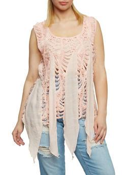 Plus Size Sleeveless Crochet Knit Sharkbite Tank Top - 9406058751152