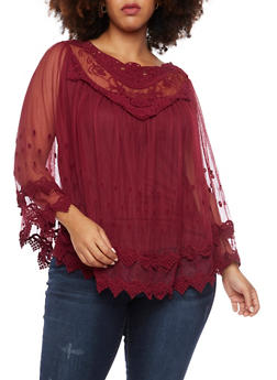 Plus Size Mesh Poncho Top with Crochet Paneling - 9406058753682