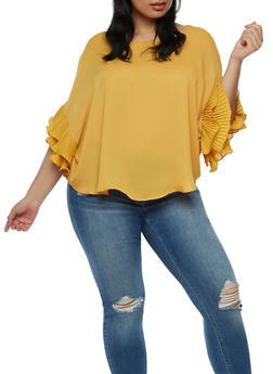 Plus Size Pleated Ruffle Sleeve Blouse - 9406058931446