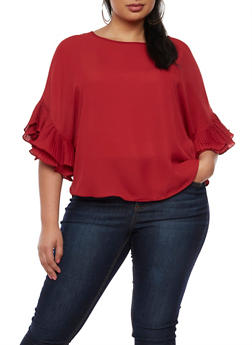 Plus Size Pleated Ruffle Sleeve Blouse - 9406058931446