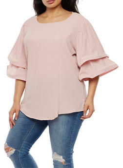 Plus Size Double Wire Sleeve Blouse - 9406058934622