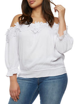 Plus Size Off the Shoulder Crochet Neck Top - 9406062705377
