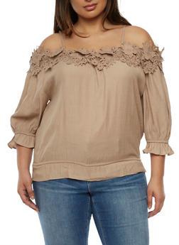 Plus Size Off the Shoulder Crochet Neck Top - 9406062705377