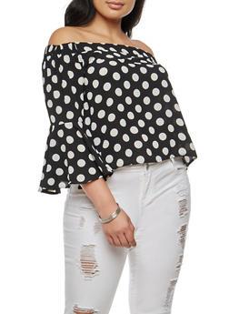 Plus Size Crepe Knit Polka Dot Off the Shoulder Top - BLACK/WHITE - 9406062705418