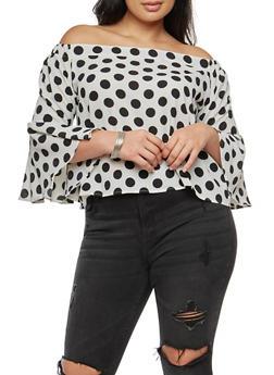Plus Size Crepe Knit Polka Dot Off the Shoulder Top - WHT-BLK - 9406062705418