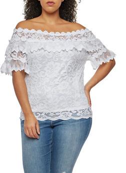 Plus Size Crochet Lace Off the Shoulder Top - 9406062706523