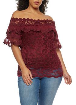 Plus Size Crochet Lace Off the Shoulder Top - BURGUNDY - 9406062706523