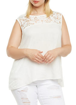 Plus Size Tank Top with Crochet Trim - 9406063508094