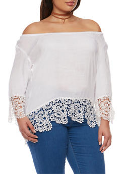 Plus Size Off the Shoulder Top with Crochet Trim - WHITE - 9406063508125