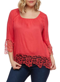 Plus Size Off the Shoulder Top with Crochet Trim - 9406063508125