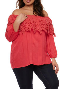 Plus Size Gauze Knit Off the Shoulder Top with Crochet Overlay - 9406063508126