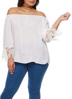 Plus Size Gauze Knit Off the Shoulder Top with Crochet Trim - WHITE - 9406063508127