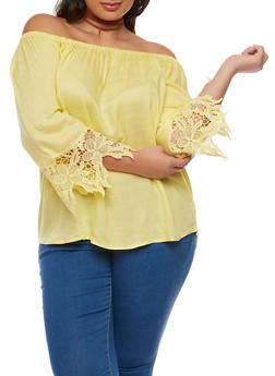 Plus Size Gauze Knit Off the Shoulder Top with Crochet Trim - 9406063508127