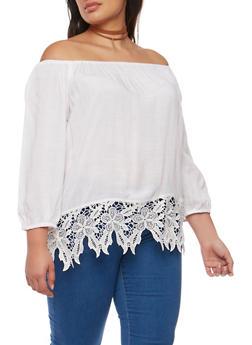 Plus Size Off the Shoulder Peasant Top with Crochet Hem - WHITE - 9406063508128