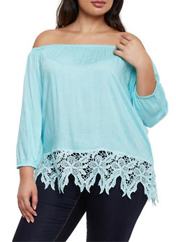 Plus Size Off the Shoulder Peasant Top with Crochet Hem - 9406063508128