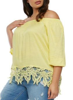 Plus Size Off the Shoulder Peasant Top with Crochet Hem - 9406063508128
