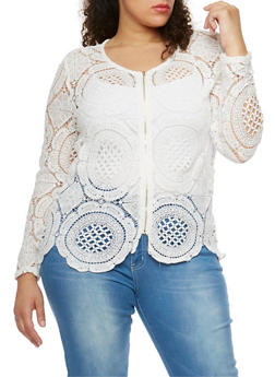 Plus Size Zip Front Crochet Jacket - 9406064462956