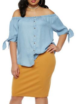 Plus Size Denim Off the Shoulder Button Front Top - 9406069390992