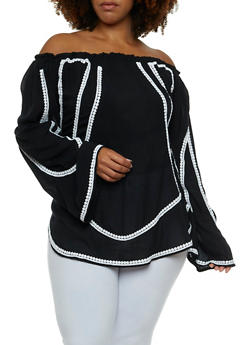 Plus Size Off the Shoulder Top with Crochet Accent - 9406070650476