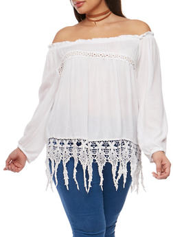 Plus Size Off the Shoulder Gauze Knit Top with Crochet Trim - IVORY - 9406070657712