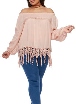Plus Size Off the Shoulder Gauze Knit Top with Crochet Trim - 9406070657712
